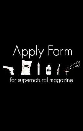 Application form for SM by SupernaturalMagazine