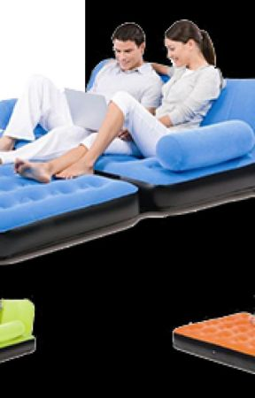 Air Sofa Cum Bed- Inflatable velvet leather Lounge by discounttelemart