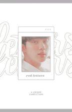 red letters ; jkook by -gwanky