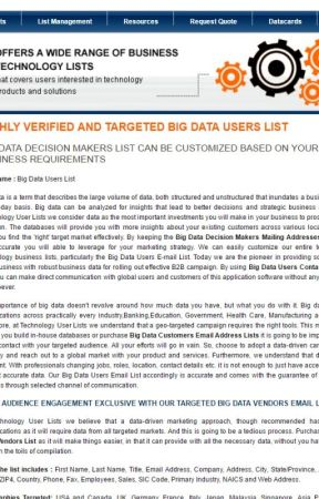 Big Data customer list by TechnoUserLists