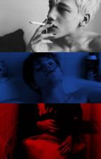 "grey, blue, red  ✥  frerard (sequel di ""colours"") by mravelous"