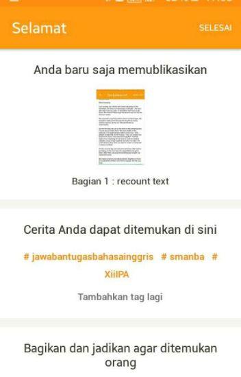 Recount Text Agungwiliyanto Wattpad