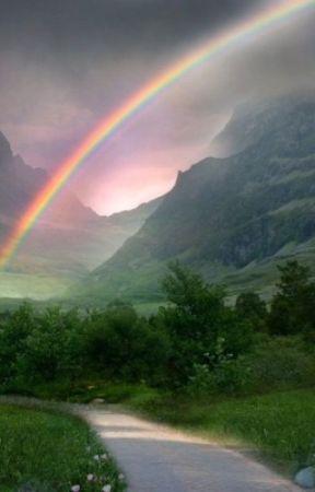 A rainbow in a grey sky by xxonedirectionafxx