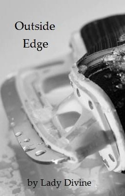 A hockey skate on its side on the ice and the words Outside Edge at the top left corner