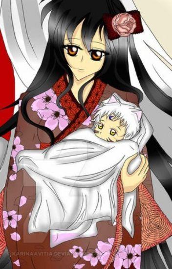 Kagome cuida a Sesshomaru bebe.