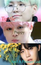 Turtle, Puppy, and a Flower God by Honey_stop