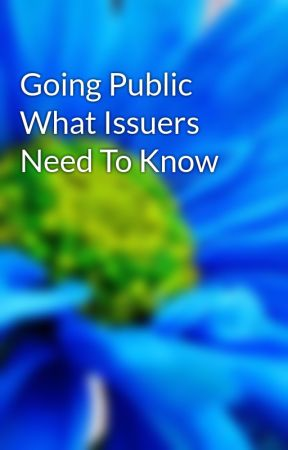 Going Public What Issuers Need To Know by jordan56ali