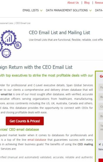 List of CEO Email Addresses from Span Global Services - Aria