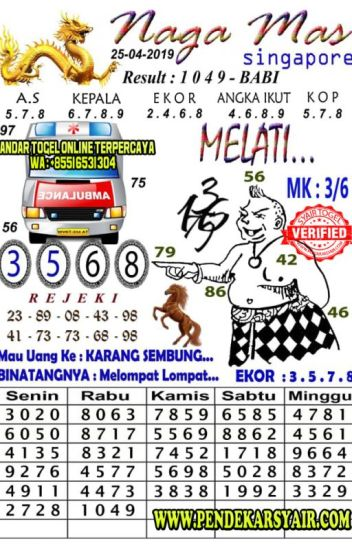 Syair Togel Naga Mas Singapore Hari Ini 25 April 2019