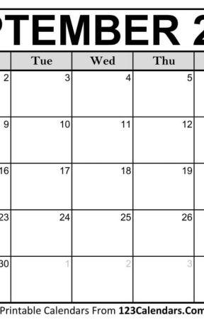 Printable September 2019 Blank Calendar September 2019 Calendar