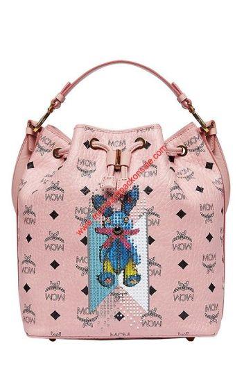 MCM Small Visetos Stripe Rabbit Drawstring Bag In Light Pink