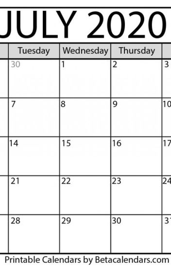 Blank July 2020 Calendar Printable - Beta Calendars - Wattpad