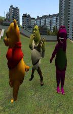 Shrek vs Winnie Pooh vs Barney by AlbondigaConPatas234