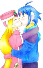 Megaman ZX Advent: Prairie and Thetis Valentine crush kiss by hyperRock