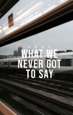 What We Never Got to Say by weavingseas