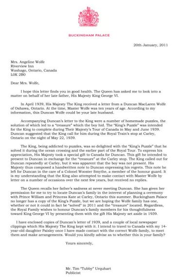 Buckingham Palace letter by IanWilsonAuthor