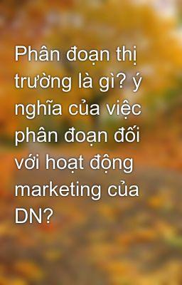 Phân đoạn thị trường là gì? ý nghĩa của việc phân đoạn đối với hoạt động marketing của DN?