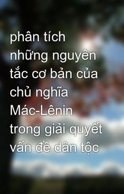 phân tích những nguyên tắc cơ bản của chủ nghĩa Mác-Lênin trong giải quyết vấn đề dân tộc