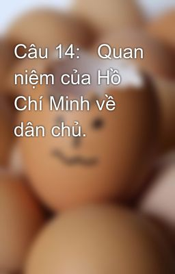 Câu 14:   Quan niệm của Hồ Chí Minh về dân chủ.