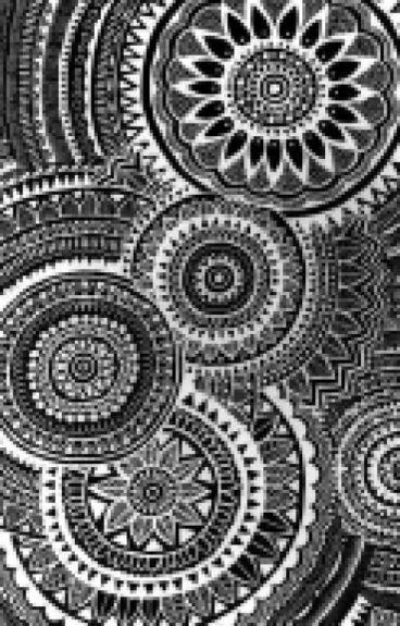 Black and white geometric mandala background Round