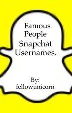 Famous people snapchat usernames. by fellowunicorn