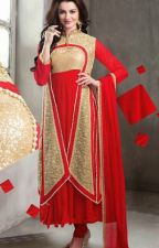 Red Embroidered Georgette, Jacquard and Net Anarkali Suit by ZEKEDAVI
