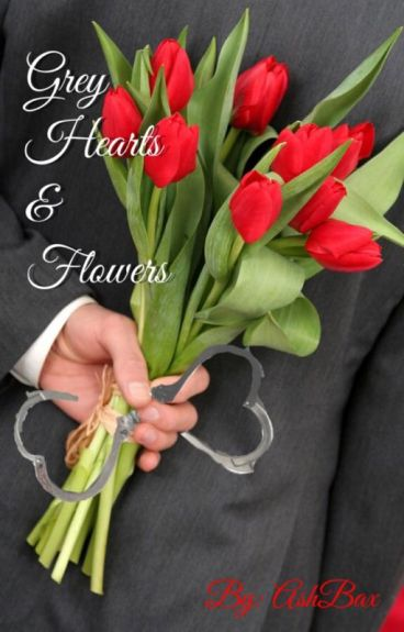 Grey Hearts and Flowers