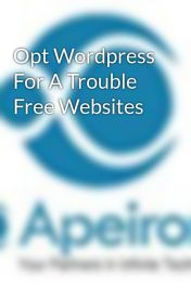 Opt Wordpress For A Trouble Free Websites by apeiront