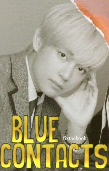 blue contacts; vkook/taekook